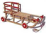 Roll Rodel Original Holzschlitten mit Rädern zum Einsatz auf Teer und Schnee - Schlitten mit Rollen, roter Kunststofflehne und Zugseil (Davoser Schlitten 110cm) - Kinderfahrzeug -...
