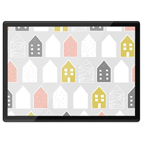 Destination Vinyl ltd Quickmat 21421 - Mantel individual de plástico A3, diseño nórdico con casas de trabajo, alfombrilla de mesa, alfombrilla para ratón, lavable, resistente al agua