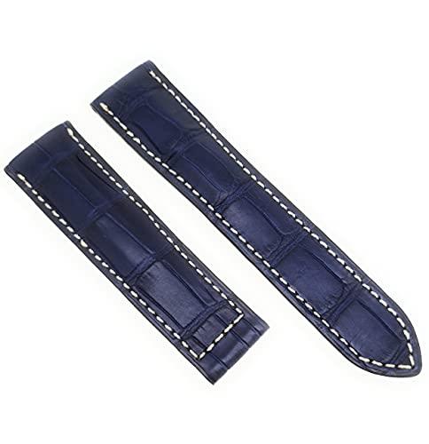 Correa de reloj para Breitling, cierre plegable, piel de cocodrilo, ancho 22 mm, color azul