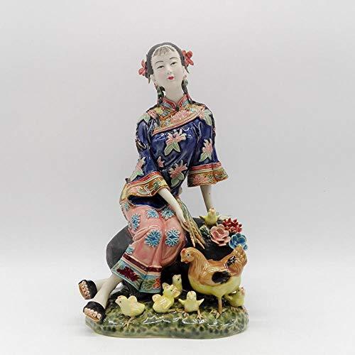 QIBAJIU Skulpturen Gartenstatuen Statue Antike Sammlerkeramikstatue Porzellanfiguren Antike Imitation Weibliche Skulptur Weihnachtsdekoration