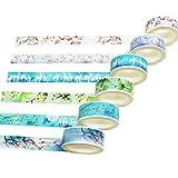 Limeo Cinta Adhesiva de Papel Y cinta de Papel Cinta Adhesiva Papel de Scrapbooking Set de Scrapbooking Set de Cintas Washi Cinta Adhesiva Decorativa Cinta Colorida (6 volúmenes en total)