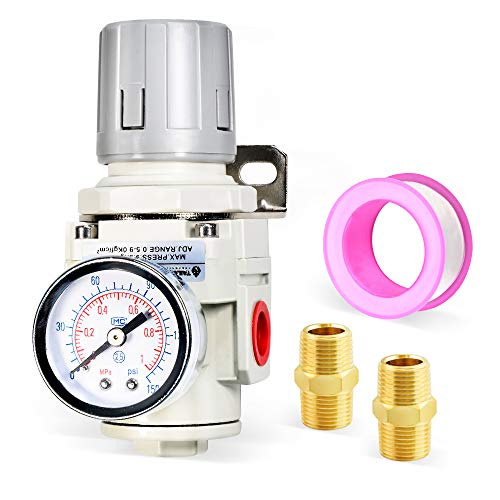 Tailonz Pneumatic 1/2 Inch NPT Mini Pressure Regulator for Compressed Air Systems AR4000,Adjust 0 to 145 Psi