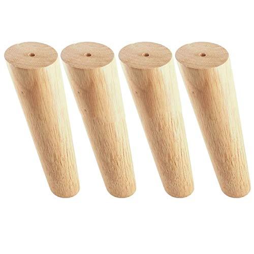 4pcs Oak Wood 300x56x38mm Altura Friable Pierna de Muebles Inclinados con Placa de Hierro Sofá de Tabla de pies pies con Placas de Hierro