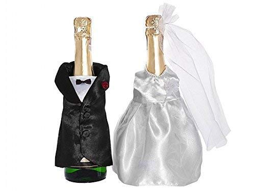 Flaschen-Kleidung Brautpaar für Champagnerflaschen, 1 Paar