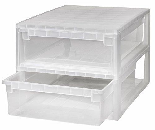 Kreher 2 Stück Schubladenboxen mit Nutzvolumen 22 Liter pro Box. Passend für z.B. Pullover, Shirts, Hosen, Papier, etc.Maße pro Box: 39,6 x 52 x 16,9 cm