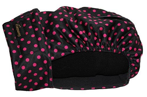 Glenndarcy Weibliche Hundehosen - Waschbar - Black Pink Dots XL Pants & 2 Washable Pads