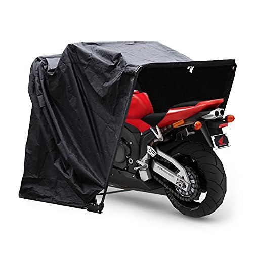 Fetcoi Copertura per moto in tessuto Oxford 600D, 269 x 104 x 155 cm, pieghevole, per garage