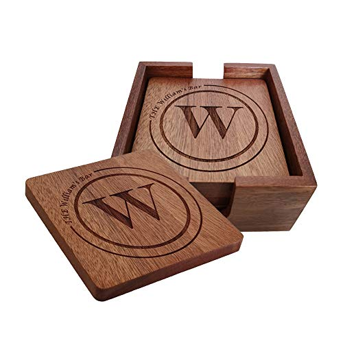 Personalized Coasters Custom Engraved Wood Coasters for Drinks Monogram Coasters with Holder Wedding Gifts Parents Gifts W