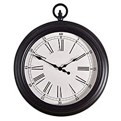 Giow Metal Vintage Wall Clock Inspired Pocket Watch Style Wall Clock Corrosion Resistant Non-Deformation Home Decoration Black Iron - White Dial (14 Inches)