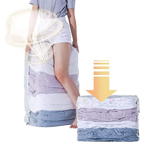 CLEVHOM Vacuum Storage Bags No Pumps Need 80 More Storage Space Saver Bags for Bedding Pillows Towel Blanket Clothes  Cube -4 Pack 315X394X15 Inch