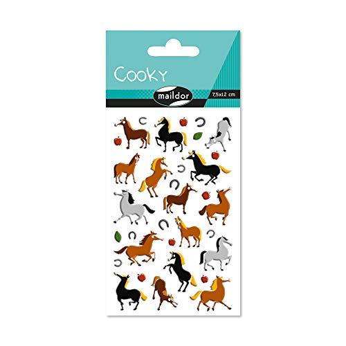 Maildor 560353C Packung mit Stickers Cooky 3D (1 Bogen, 7,5 x 12 cm, ideal zum Dekorieren, Sammeln oder Verschenken, Pferde) 1 Pack