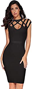 Meilun Womens Rayon Hight Neck Cut Out Bandage Bodycon Dresses