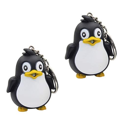 PRETYZOOM 2Pcs Schwarzer Pinguin Schlüsselbund LED Leuchten Schlüsselbund Leuchtenden Ton Schlüsselring Tier Glühenden Schlüsselbund Anhänger Dekorative Schlüsselhalter Schlüsselbund