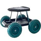 ガーデンスクーターとスイベルシートガーデンローリングガーデンワークスクーター、ツールトレイ、除草、ガーデニング、屋外芝生ケア、ガーデンカートW/ローリングシート