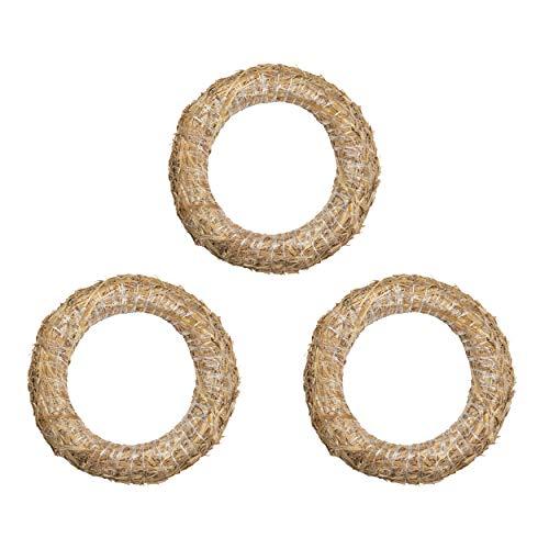 DekoPrinz® Strohkränze, 3 Stück | ø 33 cm Durchmesser | 6 cm Stärke | Strohrömer, Türkranz, Deko-Kranz, Kranz-Rohling, Strohring