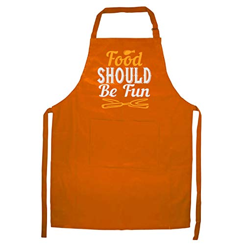 HVT Global Food Should Be FunKitchen Apron - Perfect Cooking Collections Gift - Orange