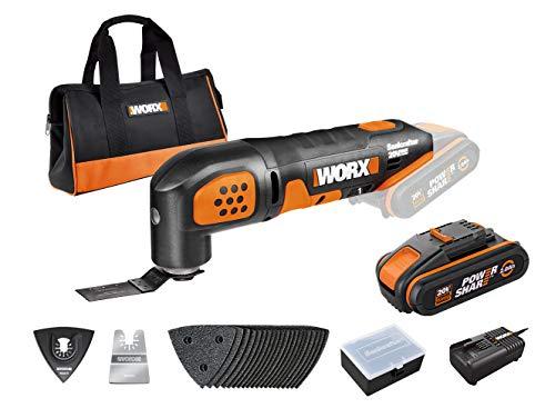 WORX 20V WX682 Akku Multifunktionsgerät Oscillating Tool, 2,0Ah, Poweshare, zum Schneiden, Sägen, Schleifen uvm. – Inkl. 20 20 Stück Schleifpapier-Kit, Akku & Ladegerät, Zubehörkoffer, 18V