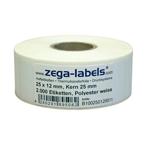 Polyester Thermotransfer Etiketten auf Rolle - 25 x 12 mm - aus PET Polyesterfolie weiss für Typenschilder - 2.000 Stück je Rolle - Kern: 25mm - Druckverfahren: Thermotransfer (Drucken mit Farbband)