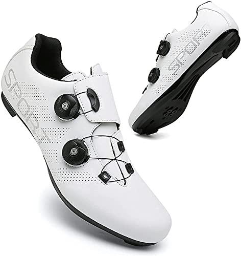 CHUIKUAJ Zapatillas de Ciclismo para Hombre y Mujer Spin Shoestring con Cleat Peloton Shoe Compatible con SPD y Delta Lock Pedal Bike Shoes,White-40EU