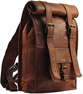 Men's Leather Vintage Roll On Laptop Backpack Rucksack One Size Brown By Gbag (T)