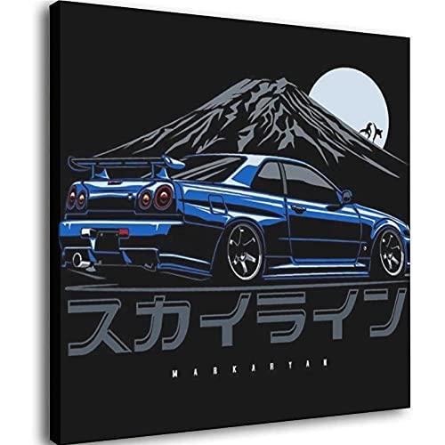 GTR R34 Carteles Impresiones Lienzo Pintura Pared Arte Cuadros Para Salón Decoración Marco-estilo1 16 × 16 pulgadas (40 × 40 cm)