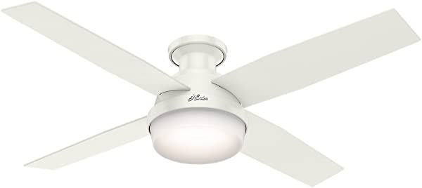 Hunter Indoor Low Profile Ceiling Fan With Light And Remote Control Dempsey 52 Inch White 59242