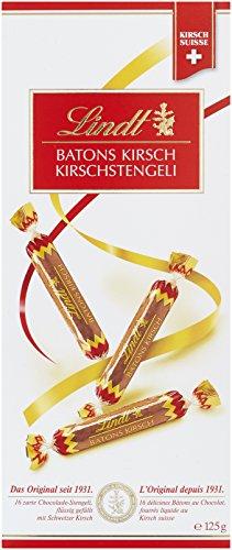 Lindt Kirschstengeli 125g, 16x zarte Chocolade-Stengeli, flüssig gefüllt mit Schweizer Kirsch, 1er Pack (1 x 125 g)
