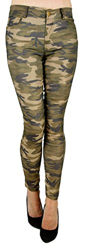 Damen Army Hüft Stretch Treggings Leggings Jeans in Camouflage Muster (44, Camouflage)