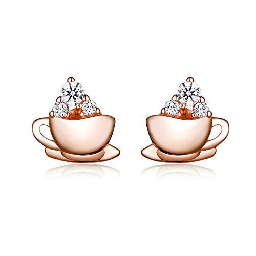 HMMJ Frauen S925 Sterlingsilber hypoallergen Rose Gold Nachmittag Kaffee Pandora Ohrstecker