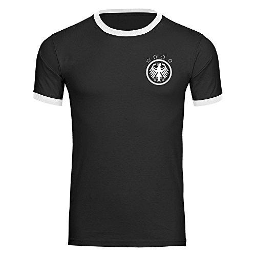 T-Shirt Deutschland Adler Retro Trikot Herren schwarz/weiß Gr. S - 3XL - Fanshirt Fanartikel Fanshop Trikot Fußball EM WM Germany,Größe:L,Farbe:schwarz/weiß