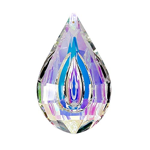 H&D Colorful Lamp Prisms Parts Loquat Shape Chandelier Glass Crystals Hanging Drops Pendants 76mm
