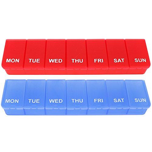 com-four® 2X Medikamenten-Box auf ENGLISCH in blau und rot, Medikamentendosierer für 7 Tage [ENGLISCH] (rot + blau)