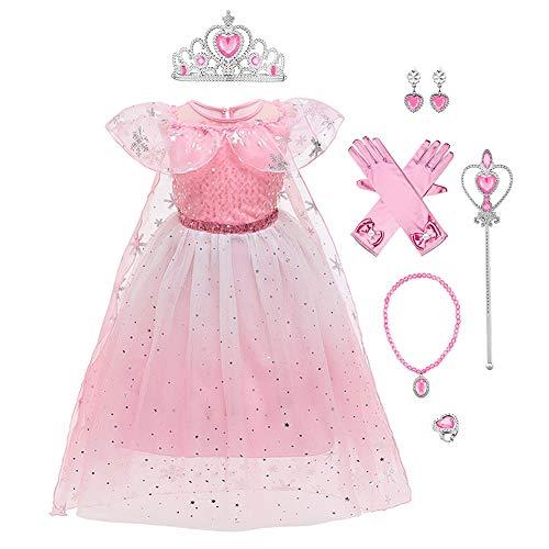 Costume de princesse Elsa Anna pour fille - En tulle - Pour Noël, Halloween, carnaval, anniversaire, fête - Taille 98-140 - - 36