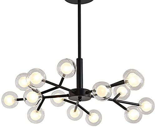 Nordic Sputnik - Lámpara de araña de doble vidrio para lámpara de techo de montaje empotrado para sala de estar, cocina, casa de campo (negro), 15 luces negras, 15 luces
