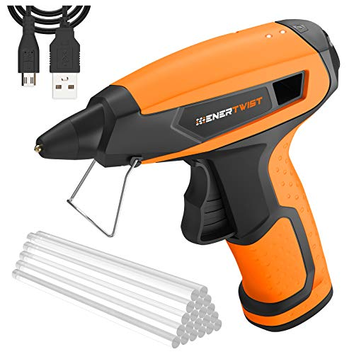 Enertwist 4V Cordless Glue Gun, 15s Fast Heating with 20 Pcs Sticks, Auto Power-Off System & 2.5AH Li-ion Battery, Stand & Rechargeable Kit with USB Cord