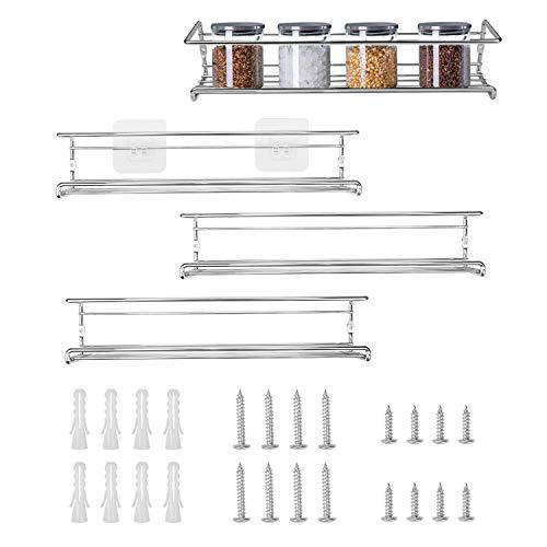 Fasmov Gewürzregale für Schrank, Türmontage, Wandmontage, Hängeregale für Schrank, Schrank oder Speisekammer, 4 Stück