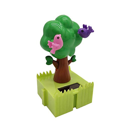 Solar Dancing Tree Toy, Solar-Powered Swinging Tree with Birds Bobble Head Animated Figure Ornament for Office Home Desktop, Windowsill, Car Dashboard Decoration