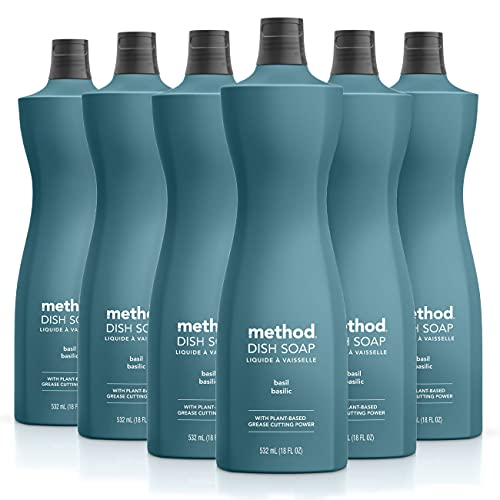 Method Dish Soap, Basil, 18 Ounce, 6 pack, Packaging May Vary