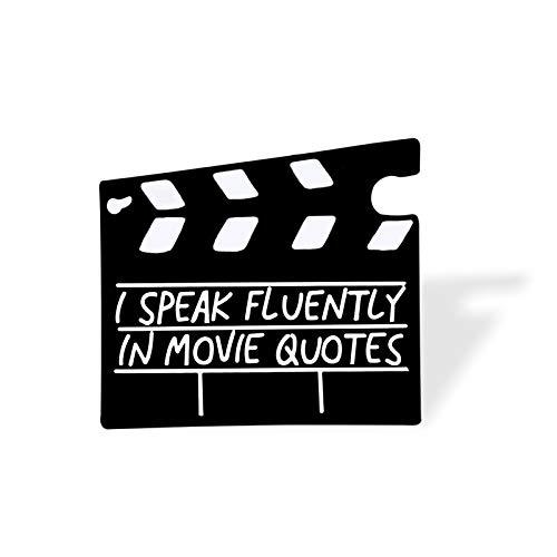 wangk Black Movie Board Pins Clapperboard Broches Cartoon Cinema Insignias Mochila Camisas Lapel Joyería Regalo para Friend