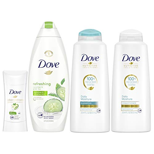 Dove Hair and Skin Care Regimen Pack For Soft Skin and Clean Hair Cool Moisture Includes 2 Hair and 2 Skin Care Products 4 Count