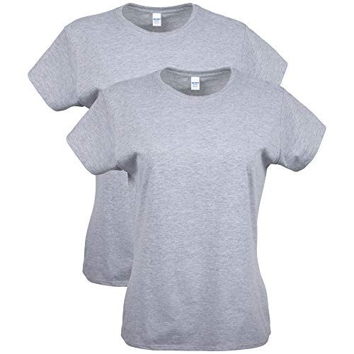 Gildan Women's Softstyle Cotton T-Shirt, Style G64000L, 2-Pack, Sport Grey, Large