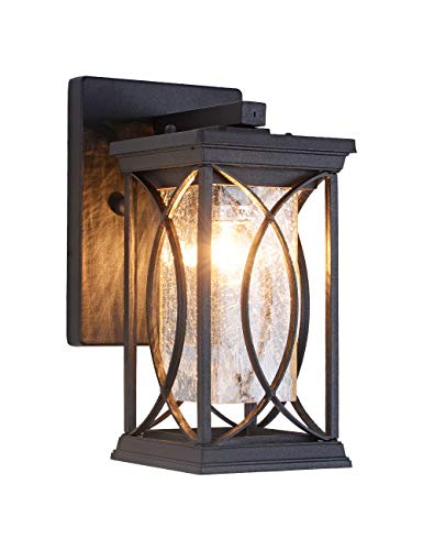 Outdoor Wall Lantern Small Modern Exterior Light Fixtures, Aluminum Housing with Crack-Like Glass, UL and IP65 Waterproof Wall Sconce Outdoor Wall Light for Porch, Garage, Front Door, Black Finish