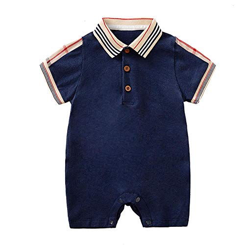 Baby Boys Romper Overalls Short Sleeve Polo Cotton Outfits Infant Clothes Dark Blue&Lattice 0-3 Months/59