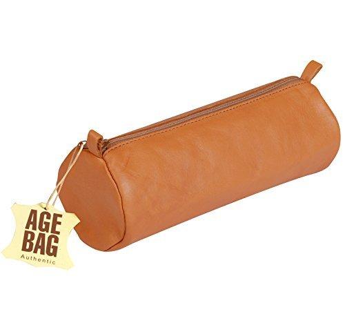 Clairefontaine 77032C Schlampermäppchen Age Bag (aus Leder, 22 x 8 cm, rund, groß, mit Metallverschluß) tabak
