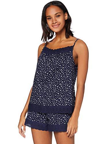 Iris & Lilly Pijama de Satén Mujer, Azul (Blue Star), XXL, Label: XXL