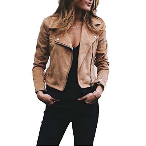 Rendeyuan Moda para Mujer Cremallera Moto Biker Chaqueta de Abrigo Corta Solapa de Mujer Cremallera Diagonal Corto Top de Lana para Mujer - Café - S
