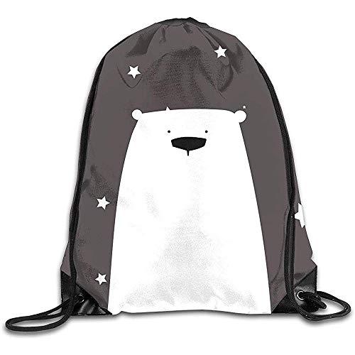 Zome Lag String Pull Bag,Sporttasche Cute Polar Bear Sport Kordelzug Rucksäcke Travel Daypack Sackpack Grafik Sporttasche für Männer Frauen