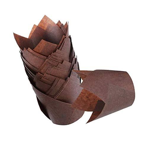 Tazas para hornear, tazas de papel para hornear estilo tulipán, marrón oscuro, 50 piezas