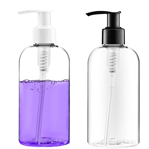 Bottlify Pump Bottles Dispenser Pack of 2 Clear Empty Plastic Soap Dispenser with Travel Lock Leakproof Refillable Containers for Toiletries and Kitchen Use