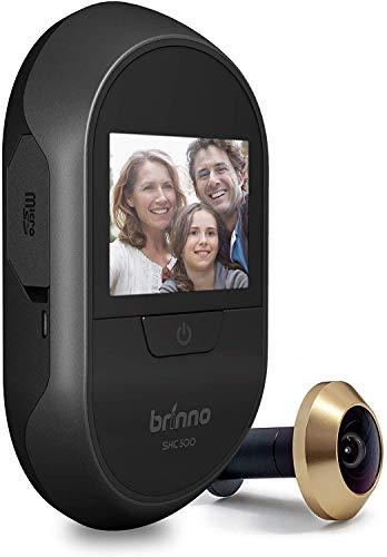 """Brinno SHC500K – con Sensor de golpeo, a Prueba de Robo, fácil de Instalar, Imagen Clara, sin Cables, Registro de visitantes Digital, cámara de Mirilla Inteligente para el hogar, 2.7\"""", Color Negro"""